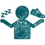 Ihmishahmo, jonka toisessa kädessä on unta kuvaava symboli ja toisessa liikuntaa kuvaava symboli